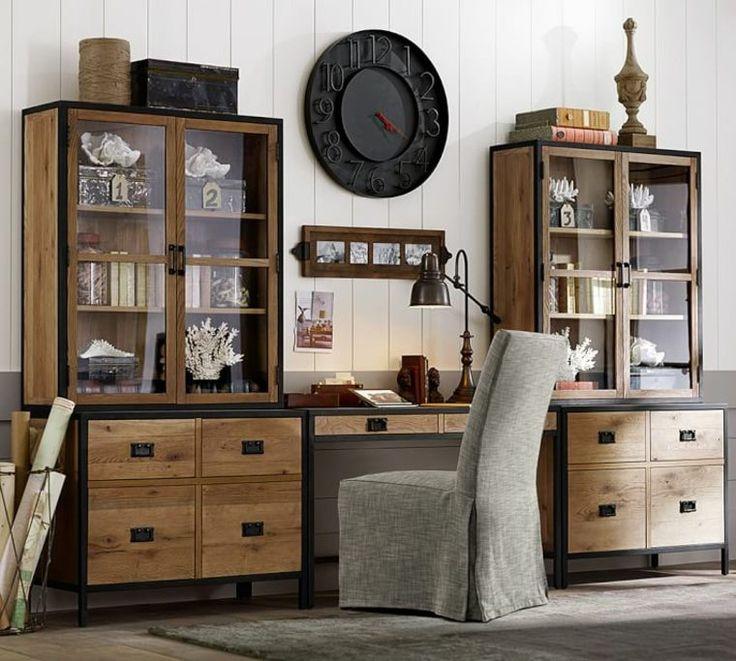 meuble pour ordinateur et bureau en bois massif Lincoln par Pottery Barn