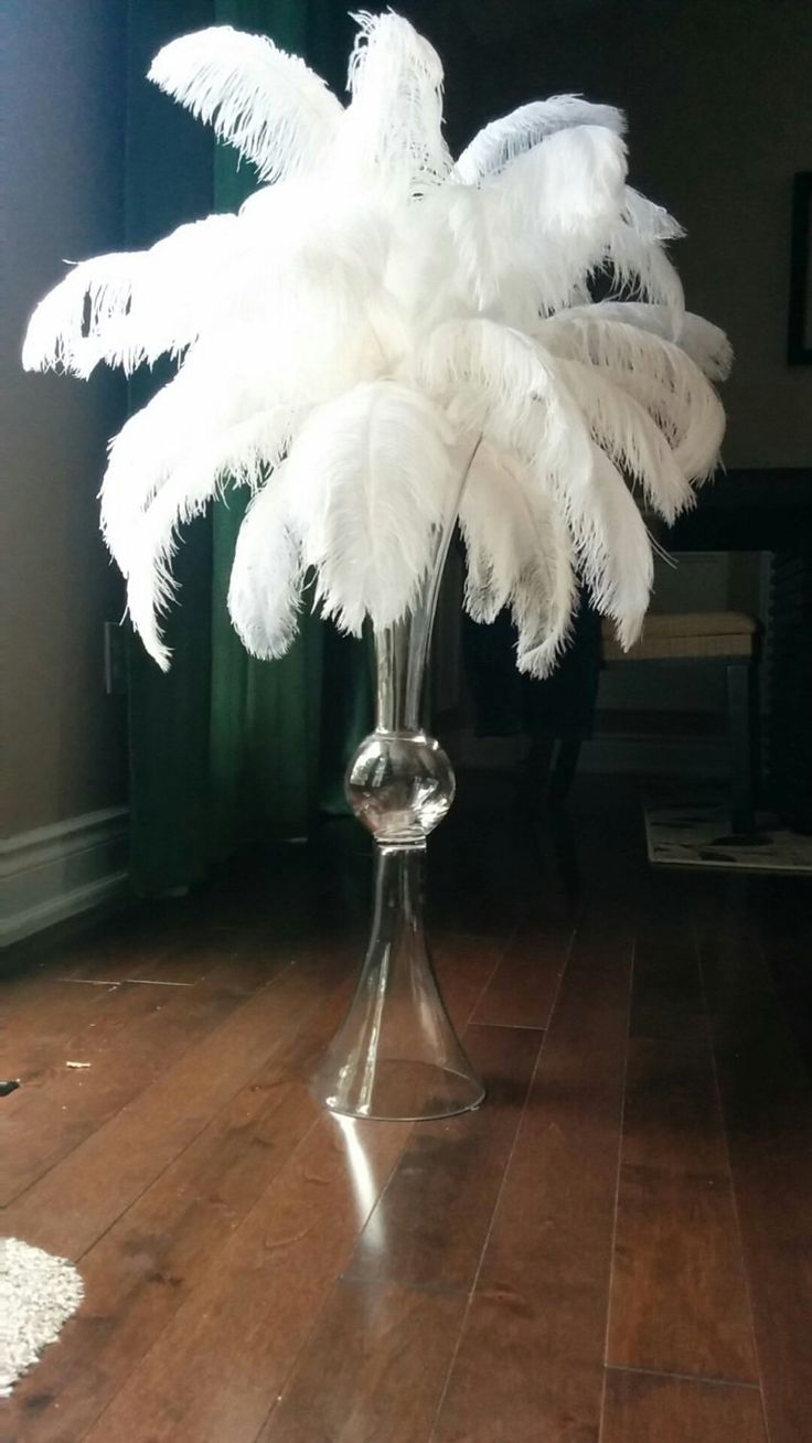 55 24 Quot Reverse Trumpet Ostrich Feather Centerpiece By Featherology2 On Etsy Feather