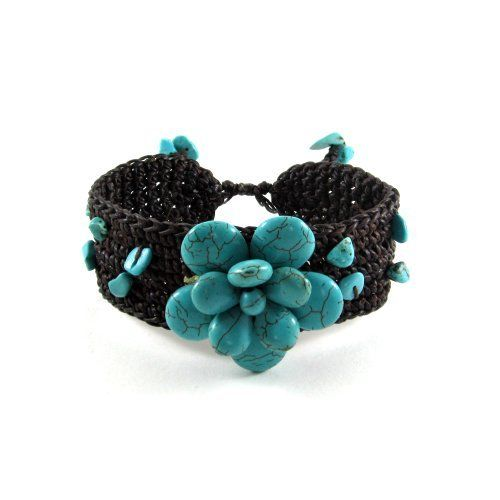 MGD, Genuine Blue Turquoise Flower Fashion Wrap Bracelet, Adjustable Bangle , 'Blue Pentagon flower' Mary Grace Design. $19.95. Handmade from natural materials (some variations may be found in color, size and/or pattern). Dimensions: 20 centimeters in length, Resizable. Packaging: Black Velvet Pouch. Materials: Turquoise. Ships from Thailand and normally delivered within 7-14 business days.. Save 57% Off!