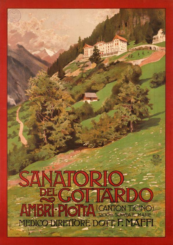 1900 Sanatorio del Gottardo, Ambri - Piotta (canton Ticino) Switzerland vintage travel poster