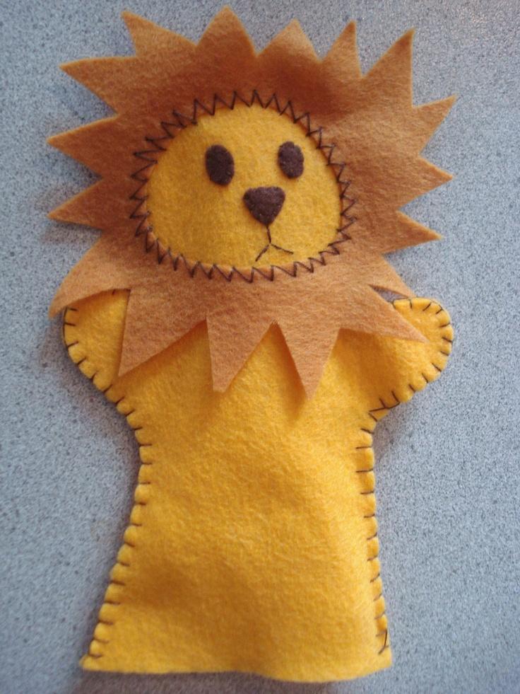 Handmade Felt Lion hand puppet.