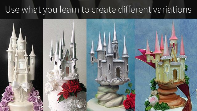 This Sugar Fairytale Castle Topper can be used for a wedding cake or a birthday cake and goes beautifully with a Sugar Horses & Carriage Centerpiece.