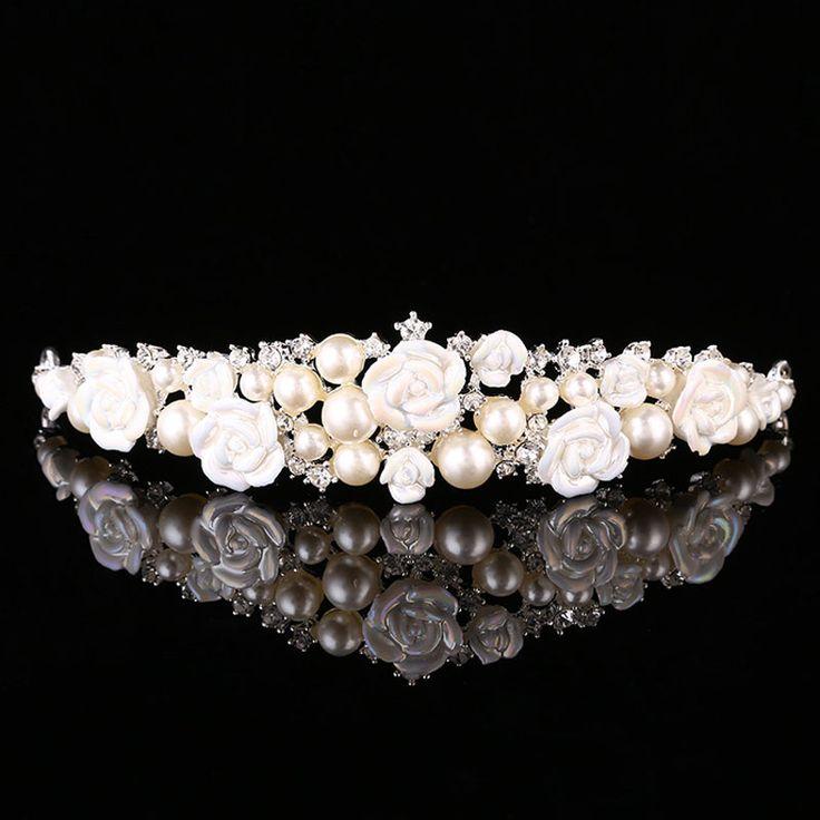 2016 игристое перл кристалл диадемы короны свадебные украшения свадебные аксессуары для волос Hairwear принцесса ну вечеринку подарок купить на AliExpress