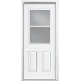 Shop ReliaBilt Insulating Core Vented Glass With Screen Right Hand Inswing  Primed Steel Prehung Entry Door