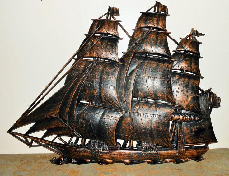 Vintage Wall Decor, Ship, Large, Wall Plaque, Nautical ...