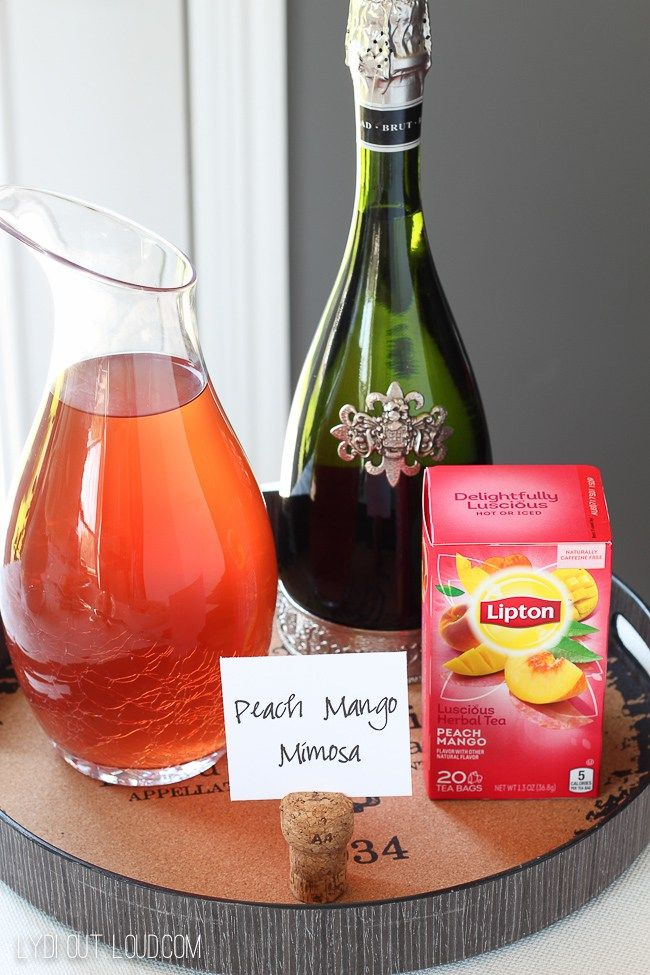 Peach Mango Tea Mimosas - so refreshing and delicious! #ad