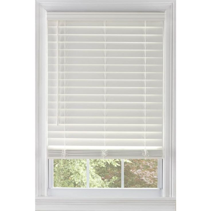 Levolor  In Cordless White Faux Wood Room Darkening Plantation Blinds
