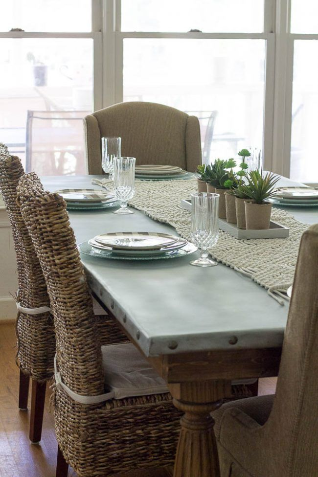 DIY Zinc Top Table By Savvy Apron, Featured On Funky Junk Interiors