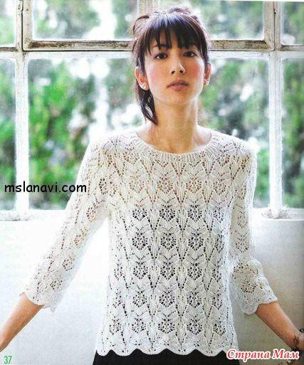 Ажурный пуловер с рукавами три-четверти - Страна Мам