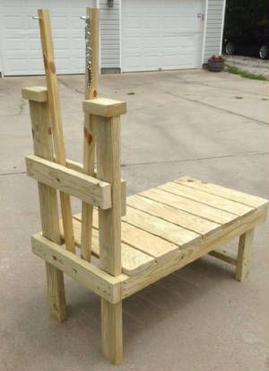 Instead of a milking stand for goats, make something like this for trimming Waffle's feet (add normal tie rail at the top)
