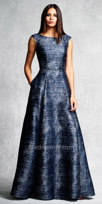 Marled Box Pleated Evening Gown by Aidan Mattox #edressme