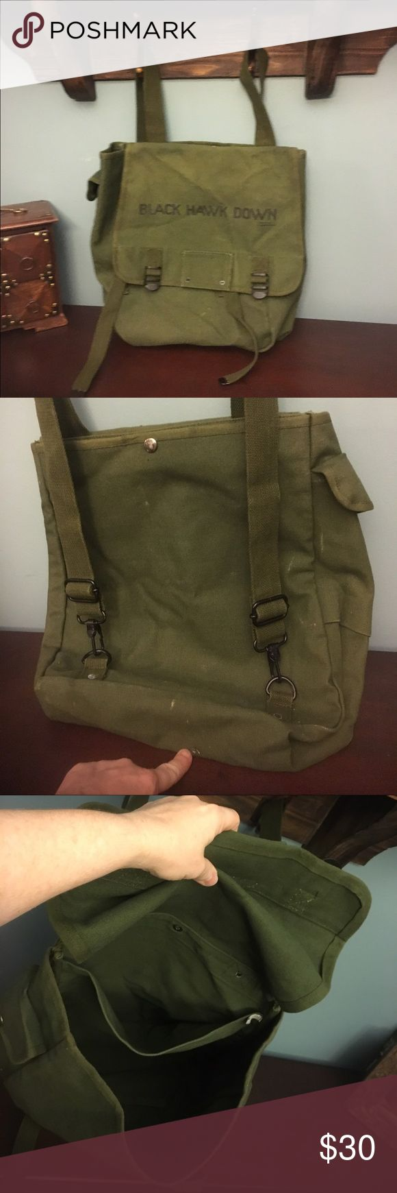 Black Hawk Down Backpack Army green color. Preowned has a few whitish color marks on it and a small pinpoint hole pointed out. No musty smell. Very cool look. Metal and plastic hard ware.💥💥sale 💥💥 Black Hawk Down Bags Backpacks