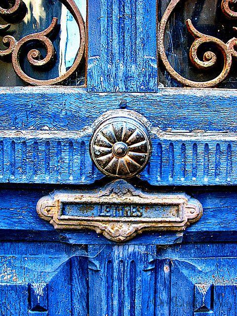 ornate antique bright blue door...: Doors Hardware, The Doors, Aqua Blue, Blue Doors, Blue Green, Front Doors, Colors Doors, Old Doors, Letters Boxes
