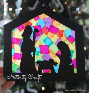Have your kids brighten up your Christmas decorations by letting them craft this Gorgeous Stained Glass Nativity. It's super easy to make! | AllFreeKidsCrafts.com
