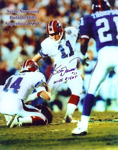 Bills Scott Norwood Autographed Super Bowl Photo vs Giants Wide Right