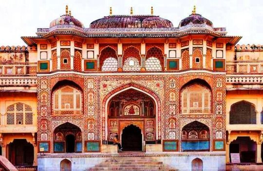 Amber Palace Rajasthan, India Ganesh Pol or the Ganesh Gate, marks the entry point to the private palaces for the Mharajas in the Amber Fort.