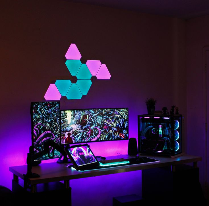 More Nanoleaf with excellent color theme by Kseries71!  Click for more pics and specs.  #battlestation #battlestations #gamingsetup #pc