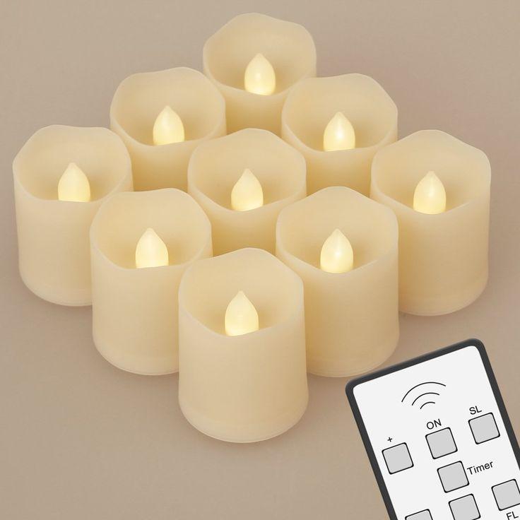 9 LED Kerzen [Upgrade 2015 mit Timer, Fernbedienung & Batterien] - 3 Modi Dimmbare Teelichter LED Votiv Weihnachtskerzen für Weihnachtsbaum, Weihnachtsdeko, Hochzeit, Geburtstags, Party: Amazon.de: Beleuchtung