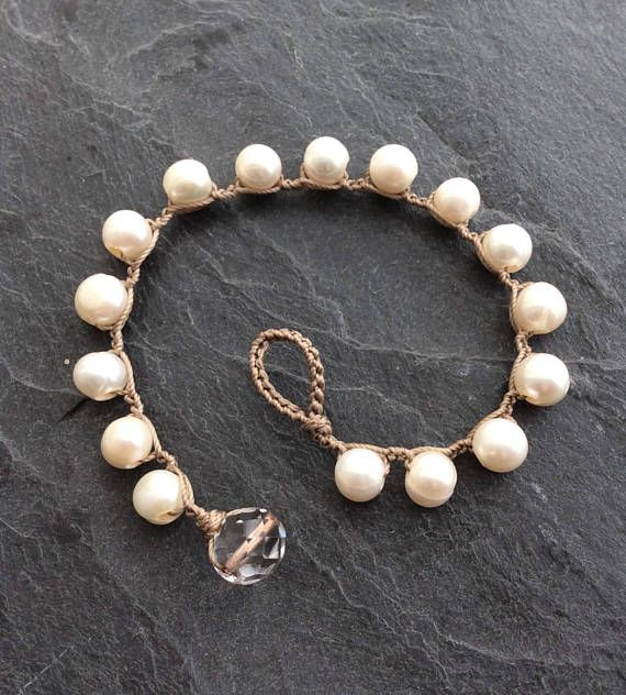Pearl crochet bracelet  classic layering bracelet organic