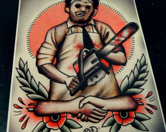 Jason Voorhees tatuaggio arte stampa di ParlorTattooPrints su Etsy
