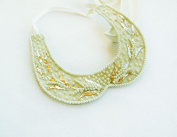 Pearl Embroidery Peter Pan Collar NecklaceVintage by aynurdereli, $49.00