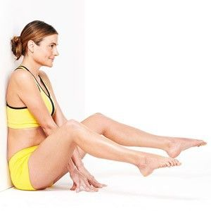 """kick """"the pouch"""" (women's lower ab flab)! 3 sets of wall holds will work out lower abdominals."""