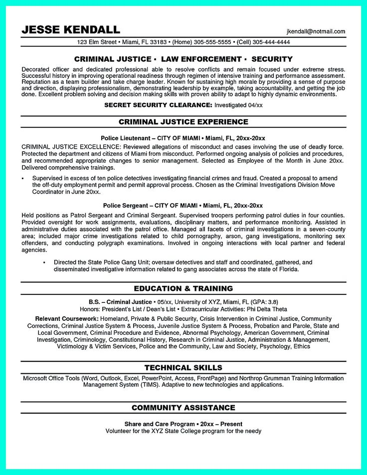 Criminal justice resume uses Summary section of the qualifications to highlight your experience from the previous work or from training if you are a r... criminal justice resume skills and criminal justice resume template Check more at http://www.resume88.com/best-criminal-justice-resume-collection-professionals/