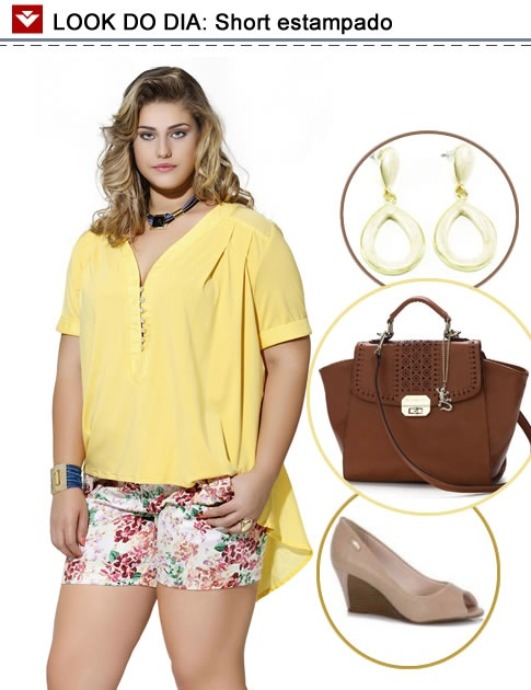 Bolsa De Mão Para O Dia A Dia : Look do dia short estampado com blusinha amarela para