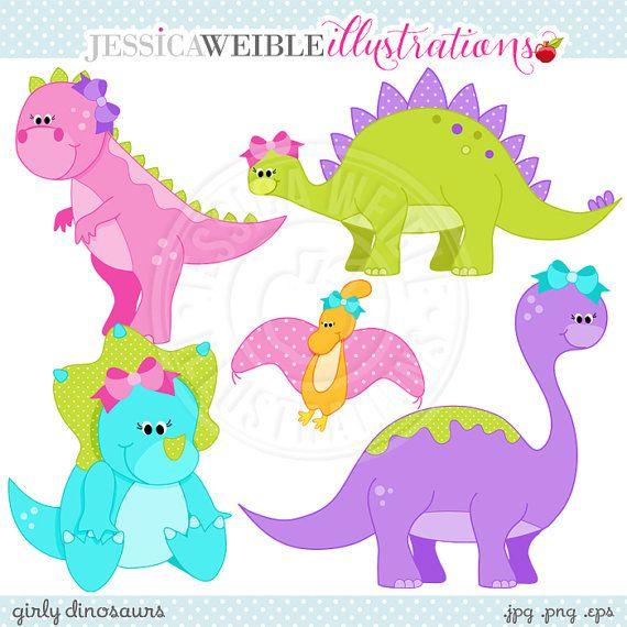 Girly Dinosaurs Cute Digital Clipart от JWIllustrations на ...