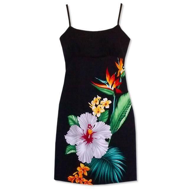 Short, Dress, Hawaiian - Tropic Hawaiian Short Spaghetti Dress