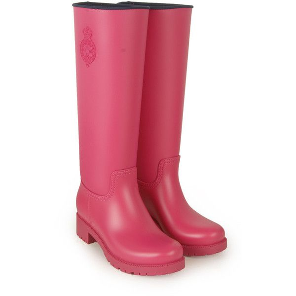 Polo Ralph Lauren Womens Pink Crest Logo Neoprene Rubber Wellies ($195) ❤ liked on Polyvore featuring shoes, polo ralph lauren, rubber shoes, round toe shoes, pink rubber boots and wellington rubber boots