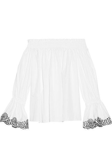 White broderie angalise cotton-poplin Slips on 100% cotton Dry clean Made in Italy