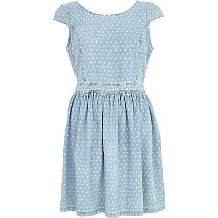 Light wash denim polka dot dress #riverisland #springpreview