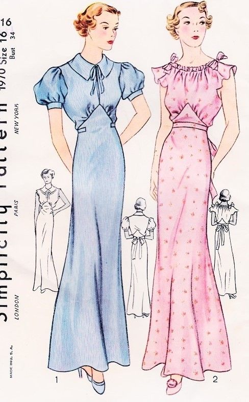 1930s Lovely Bias Cut Night Gown Lingerie Pattern Simplicity 1970 Two Styles Wear As Evening Gown Bust 34 Vintage Sewing Pattern FACTORY FOLDED
