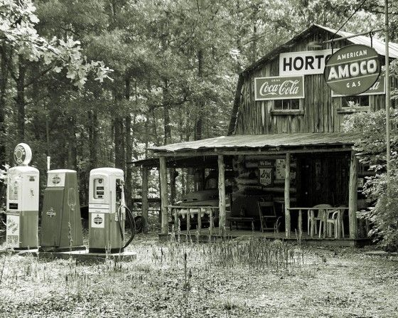 an old country store where you bought everything, gas too!