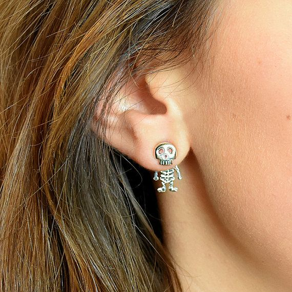 Sterling Silver Skeleton Studs  Skeleton Earrings by EllieEllieltd