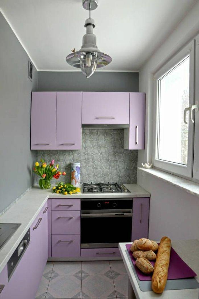 Peinture Gris Perle Cuisine En Longueur Meublee Avec Des Meubles En Lila Carrelage Sol Avec Small Kitchen Makeovers Tiny Kitchen Design Kitchen Design Small