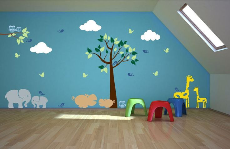 """♥♥♥♥ Included ♥♥♥♥ 1 Tree - 80"""" tall by 47"""" wide (Comes in separate pieces for easier installation) 1 Branch - 7"""" tall by 24"""" wide 3 Clouds - 13"""" tall by 25"""" wide 1 Elephant - 22"""" tall by 31"""" wide 1 B"""