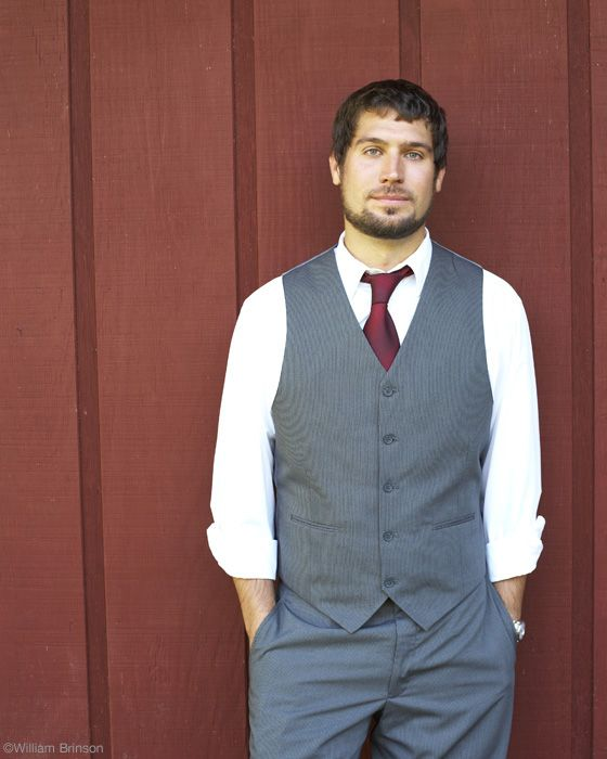 deep red tie grey vest and black suit wedding