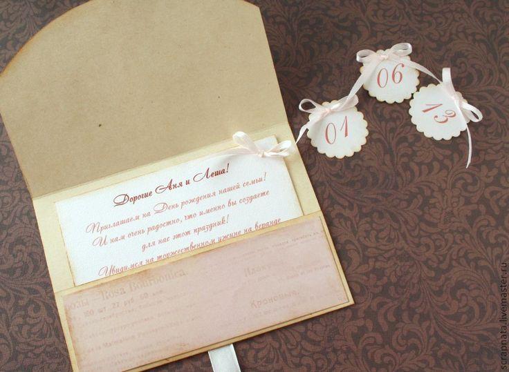 """Купить Приглашение в конверте """" Винтажное"""" - приглашение, пригласительное, приглашения на свадьбу, свадебное приглашение, свадьба"""