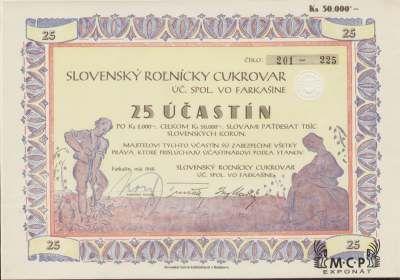 A1185 Muzeum cennych papiru / Slovenský roľnícky cukrovar, úč. spol. vo Farkašíne Akcie 25 x 2 000 Ks ( 50 000 Ks) Farkašín, 01.05. 1940 / AZP3CZ169