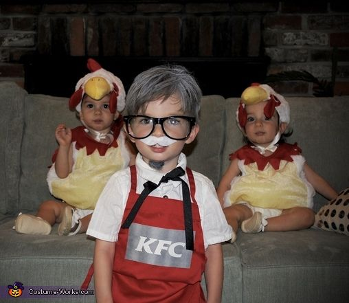Colonel Sanders and Two Chickens - 2016 Halloween Costume Contest via @costume_works
