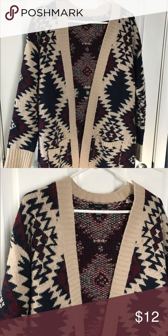 FOREVER 21 Aztec Sweater Cardigan Navy, maroon, and Ivory Aztec sweater Cardigan Forever 21 Sweaters Cardigans