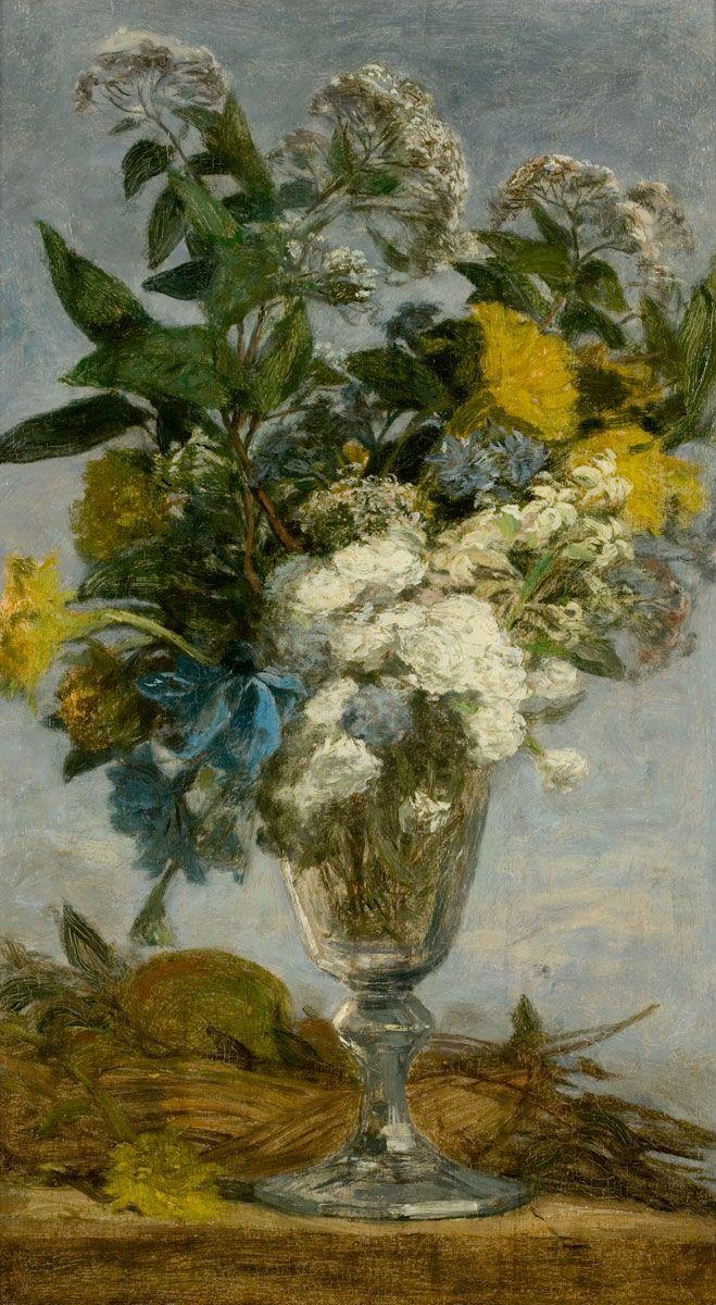 Eugène Boudin –  Fleurs dans un verre, 1862/69; Huile sur bois, 41x24 cm. © MuMa Le Havre / Florian Kleinefenn