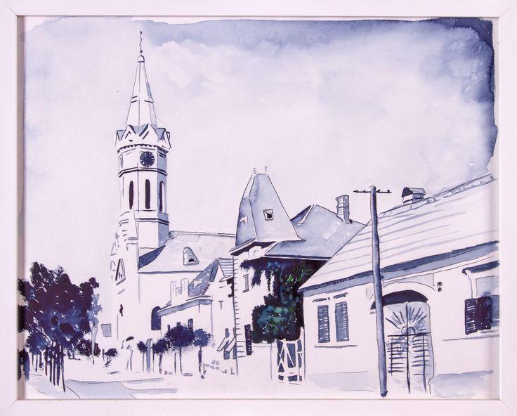 Mainstreet 1970 Mörbisch Watercolor on paper 40x50cm