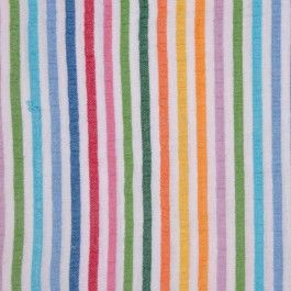 This is a cute and colorful cotton seersucker fabric perfect for childrenswear. Festive stripes of orange, yellow, green, pink, red and blue.