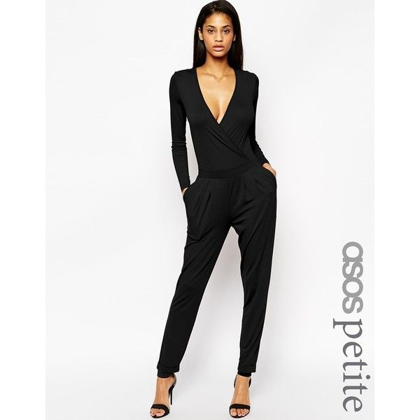 ASOS PETITE Wrap Front Jumpsuit with Long Sleeves ($43) ❤ liked on Polyvore featuring jumpsuits, black, petite, black jump suit, black jumpsuit, black v neck jumpsuit, jumpsuits & rompers and jump suit