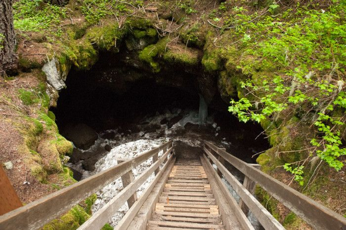 Guler Ice Caves, Washington. The caves can be reached just a few miles west of Trout Lake on SR141, or from a short hike or snowshoeing trip through Atkisson Sno-Park.