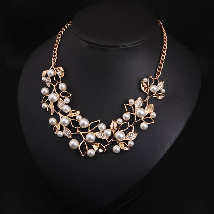 Заявление ожерелье 2016 имитация ожерелья и кулоны позолоченные листья персонализированные женщин ожерелье этнические украшения купить на AliExpress