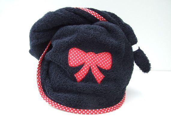 Turban de bain, de piscine, serviette/capuche pour cheveux rouge et noir